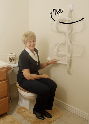 easy to use swinging grab bar, stable and helps maintain dignity