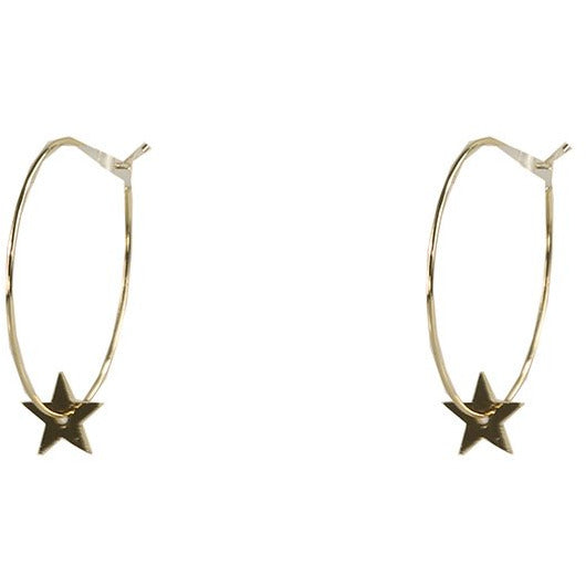 Star Hoop Earring Gold
