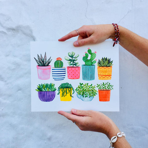 Potted Succulents Print