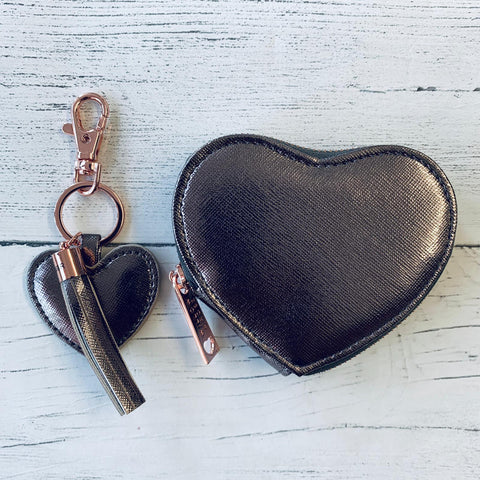Metallic Heart Coin Purse - Various Colours