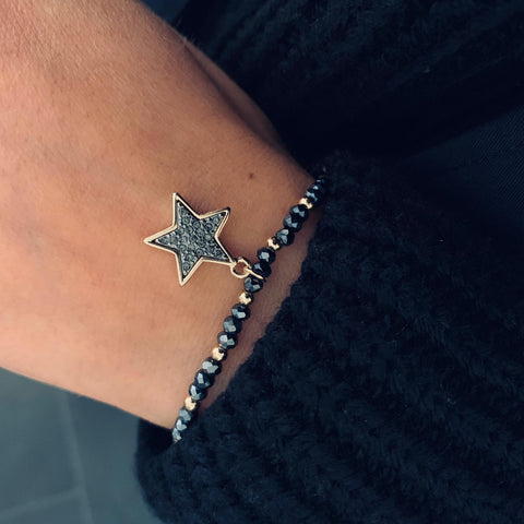Stretchy Beaded Graphite And Gold Sparkle Star Bracelet