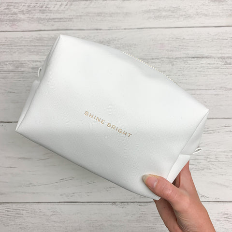 """Shine Bright"" White Wash / Makeup Bag"