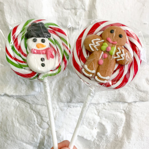 Traditional Christmas Lollies with Design on Front - Various Designs