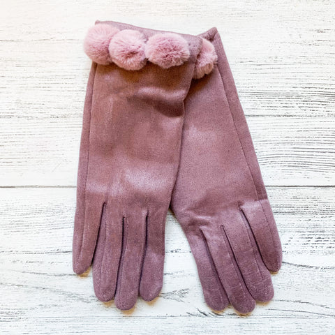 Gloves With Pom Pom Detail
