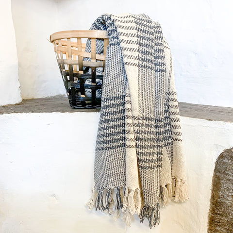 Cream with Grey Pattern Blanket Throw