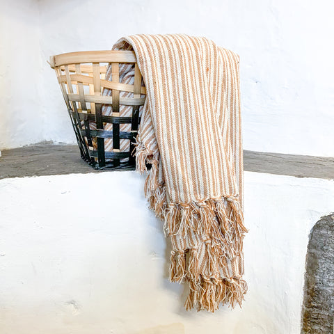Rust and Cream Striped Blanket Throw