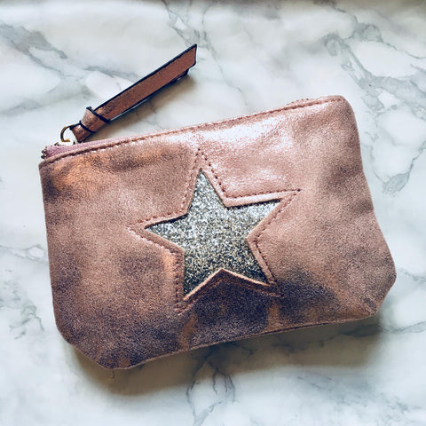 Metallic Coin Purse With Star Detail