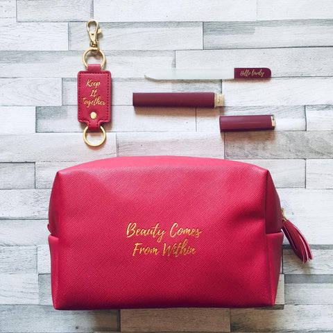 Beauty Comes From Within Berry Make-Up Bag