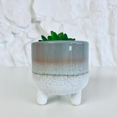 Grey Dip Glazed Ombre Planter
