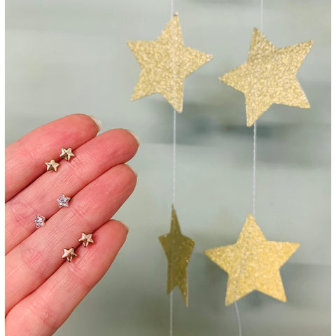 Tiny Plated Star Stud - Various Colours