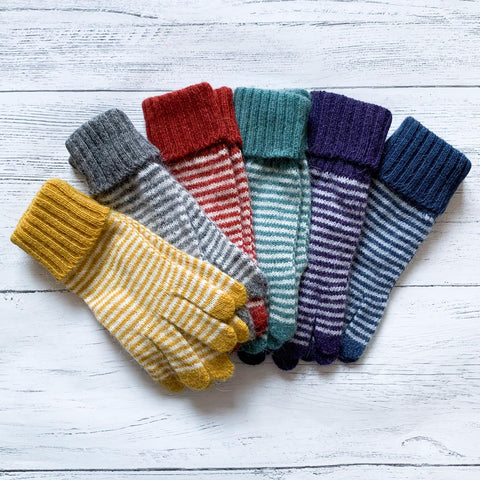 Striped Woollen Gloves- Various Colours