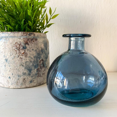 Round Bud Vase - Blue Recycled Glass