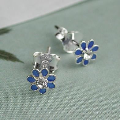 Tiny Enamel Flower Stud- Various Colours