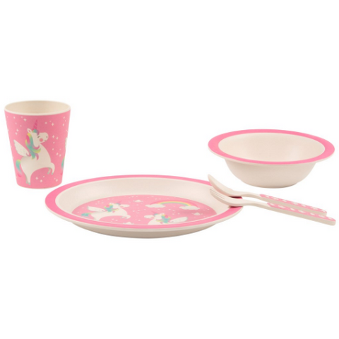 Rainbow Unicorn Bamboo Tableware Set