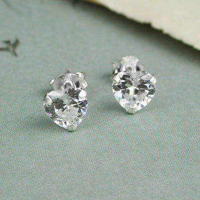Clear Crystal Heart Stud