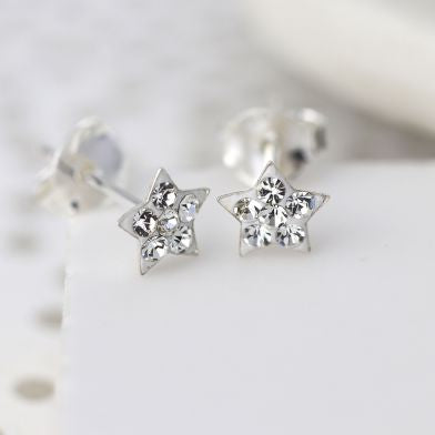 Sterling Silver Clear Crystal Tiny Star Earrings