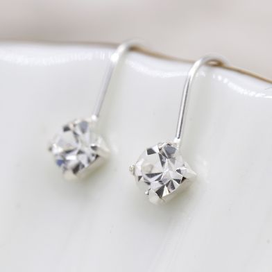 Sterling Silver Clear Crystal Little Drop Earrings