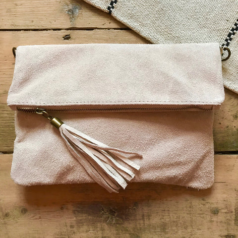 New Real Leather Brushed Suede Clutch Bags With Tassel Detail