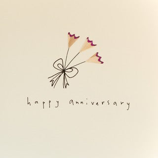 Anniversary Flowers Pencil Shaving Card