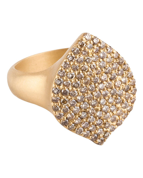 Jamie Wolf Collection Acorn Pavé Diamond Ring 18K Yellow Gold Size 7.5