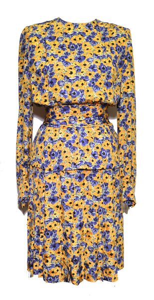 Givenchy vintage 1980s Yellow & Purple Floral Print Silk Skirt Set with Belt