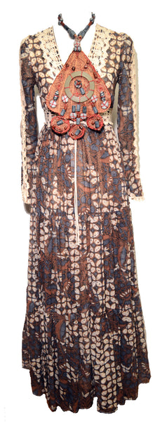 Gunne Saks 1970s Tribal Print Boho Hippie Maxi Dress 9