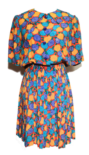 Givenchy 1980s Bright Color Silk Print Jumper Dress