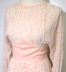 1980s Nude Print Sheer Silk Tie Back Waist Dress Dress Philadelphia Vintage and Textiles Philadelphia Vintage and Textiles - 2