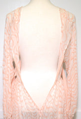 1980s Nude Print Sheer Silk Tie Back Waist Dress Dress Philadelphia Vintage and Textiles Philadelphia Vintage and Textiles - 5