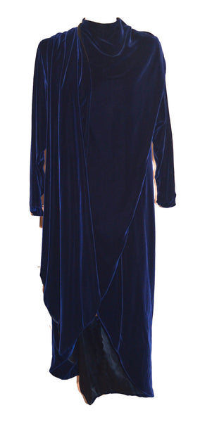 70's Halston Long Navy Blue Velvet Evening Coat Wrap Cloak Size 10