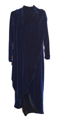 70's Halston Long Navy Blue Velvet Evening Coat Wrap Cloak Size 10 Cloak Halston Philadelphia Vintage and Textiles - 1