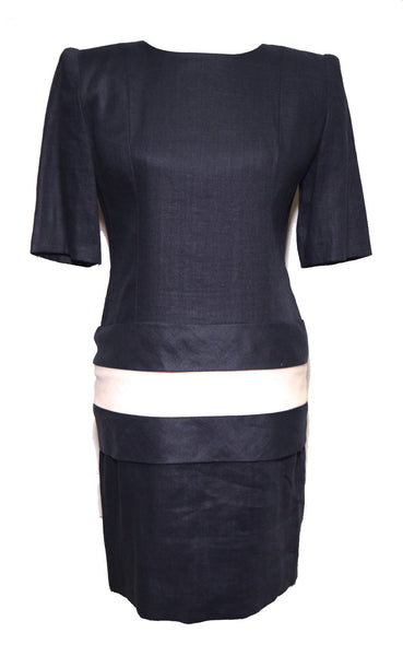Givenchy 1980s Navy Blue White Stripe Bow Linen Shift Dress