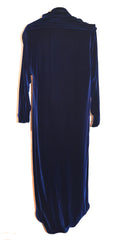 70's Halston Long Navy Blue Velvet Evening Coat Wrap Cloak Size 10 Cloak Halston Philadelphia Vintage and Textiles - 3