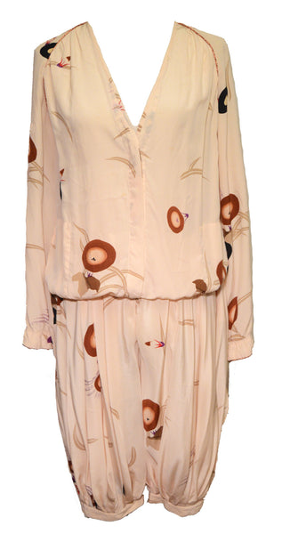 Krizia 1980s Peach Silk Print Playsuit Pant Jacket Set