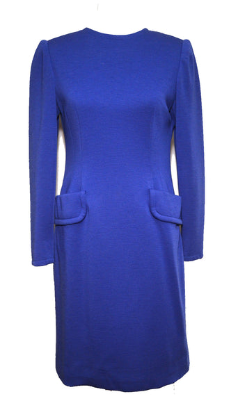Givenchy 1980s Royal Blue Knit Long Sleeve Dress