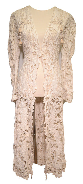 Antique Handmade Lace Duster Jacket c1900