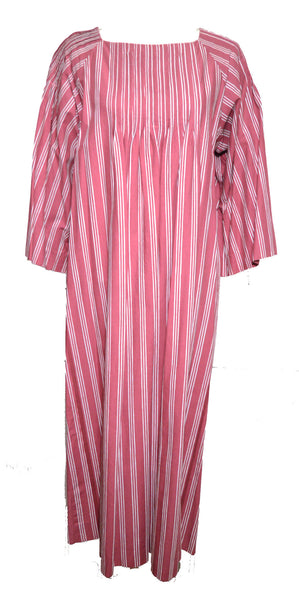 Marimekko 1970s Rose Striped Tunic Dress