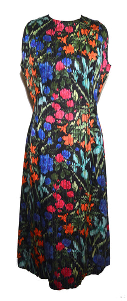 Pauline Trigere 1980s Floral Print Silk Stripe Sleeveless Dress