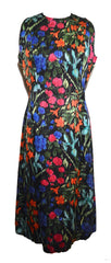Pauline Trigere 1980s Floral Print Silk Stripe Sleeveless Dress Dress Pauline Trigere Philadelphia Vintage and Textiles - 1