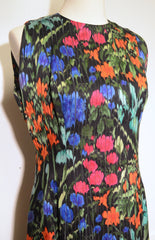 Pauline Trigere 1980s Floral Print Silk Stripe Sleeveless Dress Dress Pauline Trigere Philadelphia Vintage and Textiles - 2