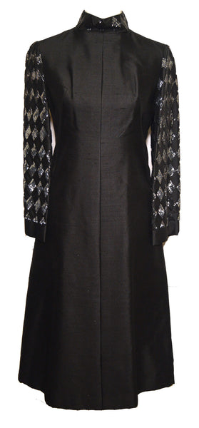 Dynasty Vintage 1960s Black Beaded Sleeve Dress
