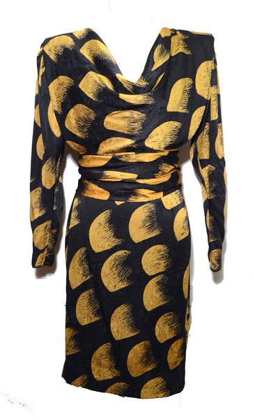 Emanuel Ungaro Black and Yellow Silk Print Dress with Belt Size 8 1980's