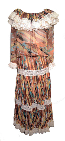 Koos Van Der Akker 1970s Sheer Boho 2 piece Top and Skirt Set