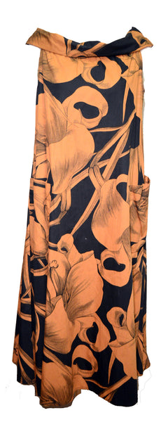 Byblos 2000s Black and Gold Cotton Print Dress