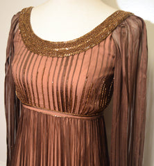 Alfred Bosand Vintage 1960s Beaded Silk Chiffon Overlay Gown with Shawl Dress Alfred Bosand Philadelphia Vintage and Textiles - 6