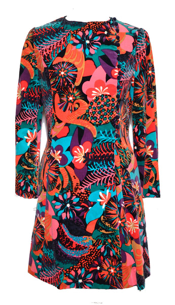 Dynasty 1960s Psychedelic Print Velour Dress