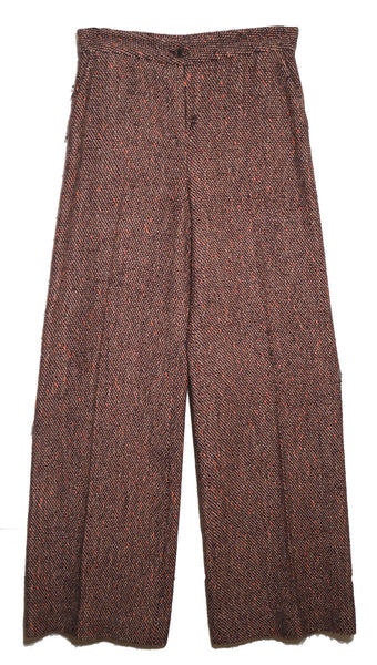 Christian Lacroix Vintage Wide Leg Burgundy Woven Wool Trousers Small 1970's