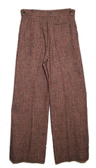 Christian Lacroix Vintage Wide Leg Burgundy Woven Wool Trousers Small 1970's Pants Christian Lacroix Philadelphia Vintage and Textiles - 2