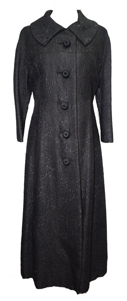 Anne Lise 1960s Black Brocade Overcoat