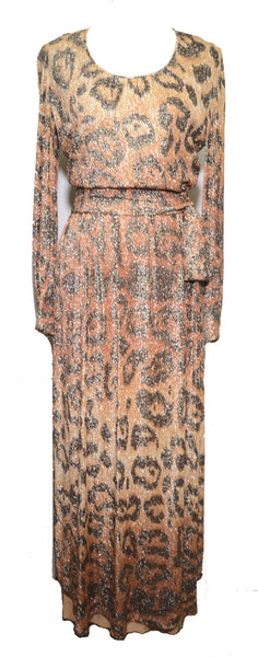 Adele Simpson 1980s Leopard Print Glitter Maxi Dress and Sash